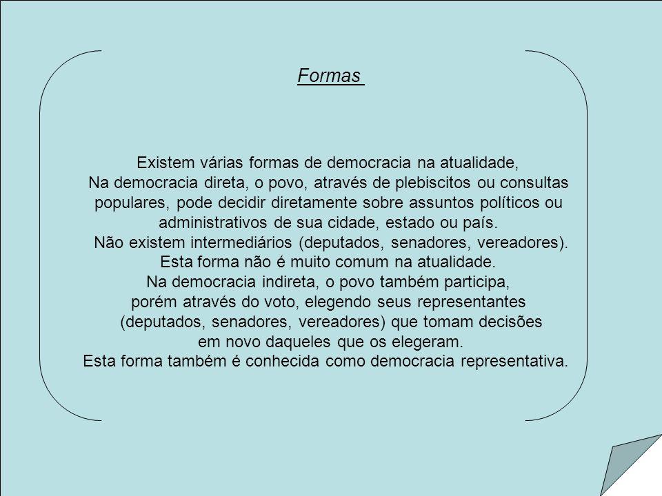 Formas Existem várias formas de democracia na atualidade, Na democracia direta, o povo, através de plebiscitos ou consultas populares, pode decidir di