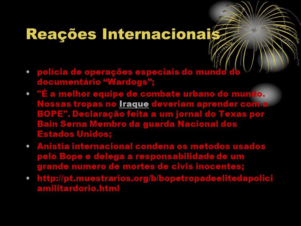 Reações Internacionais polícia de operações especiais do mundo do documentário Wardogs;