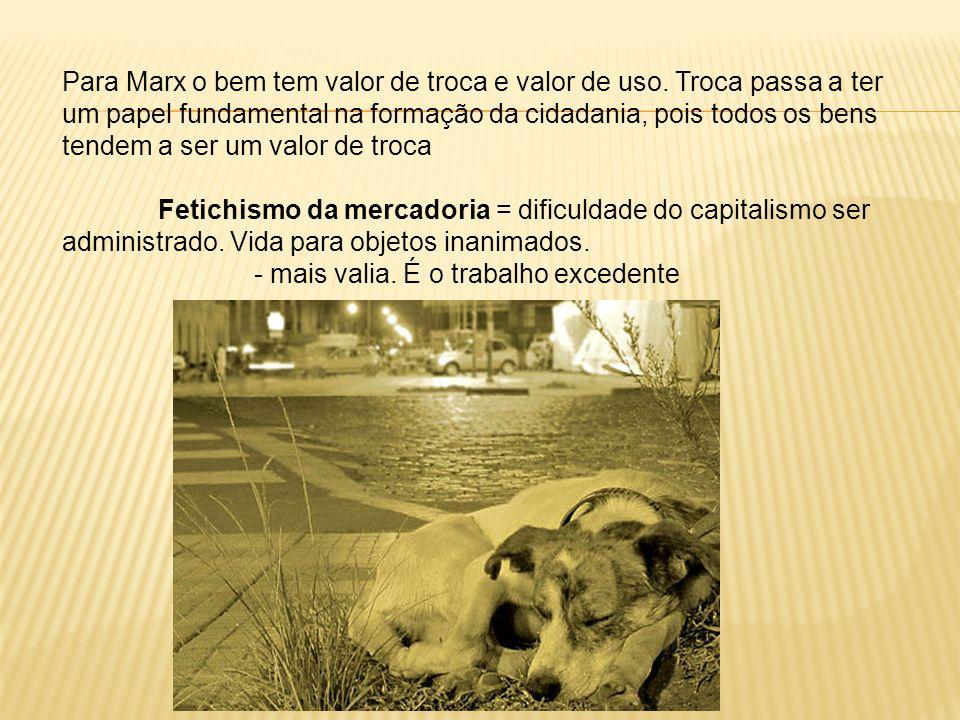 Para Marx o bem tem valor de troca e valor de uso.