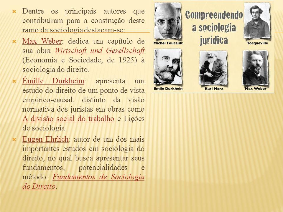 Dentre os principais autores que contribuíram para a construção deste ramo da sociologia destacam-se: Max Weber: dedica um capítulo de sua obra Wirtschaft und Gesellschaft (Economia e Sociedade, de 1925) à sociologia do direito.