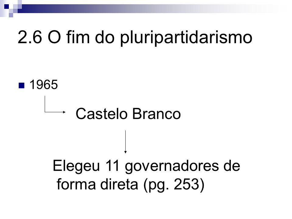 2.6 O fim do pluripartidarismo 1965 Castelo Branco Elegeu 11 governadores de forma direta (pg. 253)