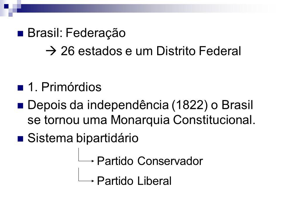 Brasil: Federação 26 estados e um Distrito Federal 1. Primórdios Depois da independência (1822) o Brasil se tornou uma Monarquia Constitucional. Siste