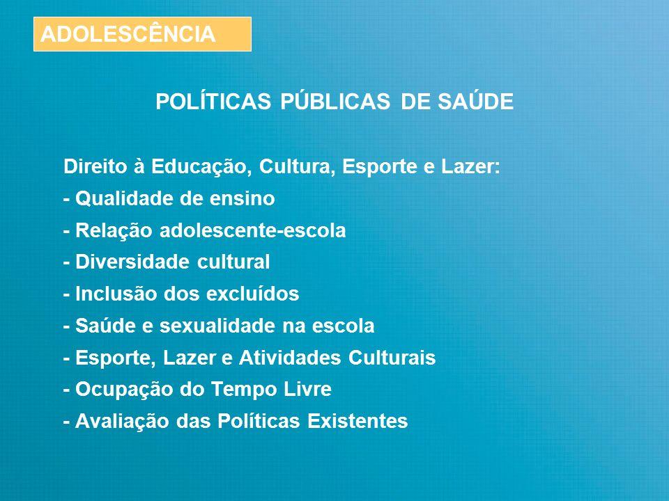 POLÍTICAS PÚBLICAS DE SAÚDE RESULTADOS ESPERADOS Redução do nº de casos de gravidez na adolescência.