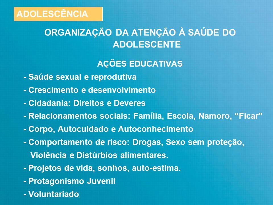 ORGANIZAÇÃO DA ATENÇÃO À SAÚDE DO ADOLESCENTE Nenhuma organização é capaz, isoladamente, de realizar todas as ações necessárias para assegurar saúde e desenvolvimento para os adolescentes e jovens.