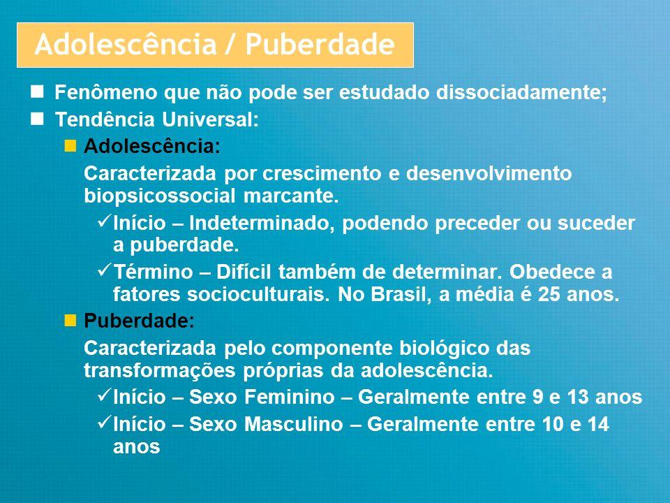 Adolescência / Puberdade Término - Geralmente em torno de 18 anos - Parada do crescimento físico (soldadura das cartilagens de conjugação das epífises dos ossos longos) - Amadurecimento gonadal