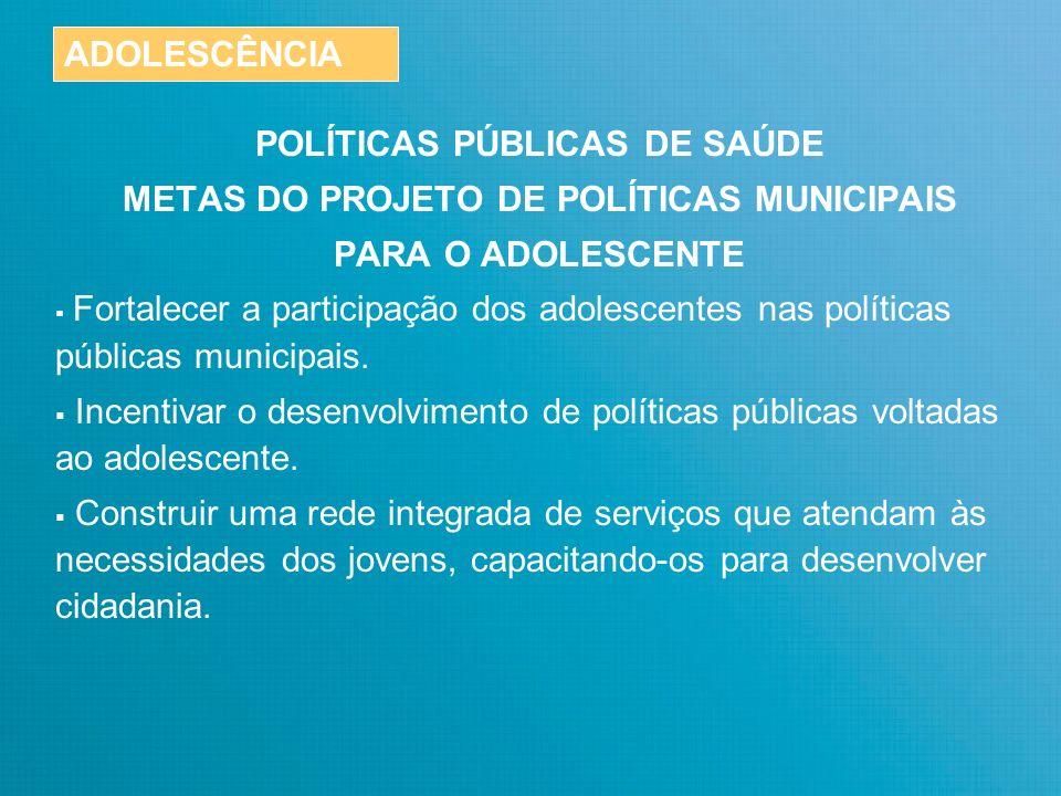 POLÍTICAS PÚBLICAS DE SAÚDE TEMAS DO FÓRUM DE ADOLESCENTES Sugeridos pelo Estatuto da Criança e do Adolescente (ECA – Lei 8060 – 13/07/1990).