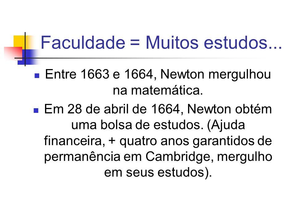 Faculdade = Muitos estudos... Entre 1663 e 1664, Newton mergulhou na matemática. Em 28 de abril de 1664, Newton obtém uma bolsa de estudos. (Ajuda fin