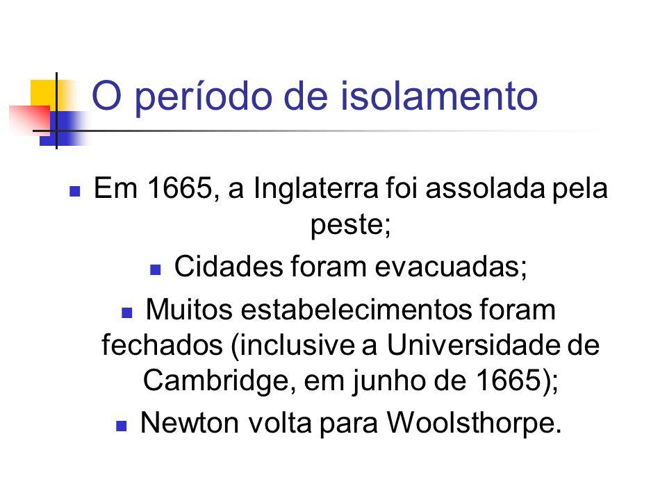 O período de isolamento Em 1665, a Inglaterra foi assolada pela peste; Cidades foram evacuadas; Muitos estabelecimentos foram fechados (inclusive a Un