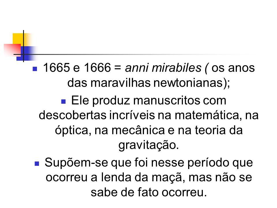 1665 e 1666 = anni mirabiles ( os anos das maravilhas newtonianas); Ele produz manuscritos com descobertas incríveis na matemática, na óptica, na mecâ