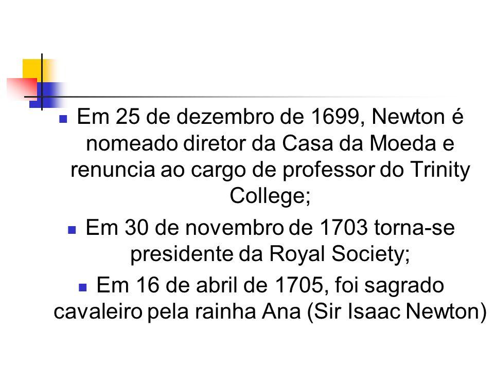 Em 25 de dezembro de 1699, Newton é nomeado diretor da Casa da Moeda e renuncia ao cargo de professor do Trinity College; Em 30 de novembro de 1703 to