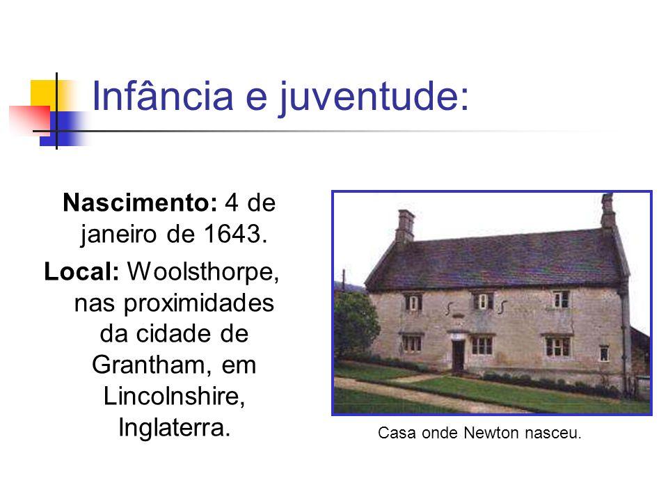 Infância e juventude: Nascimento: 4 de janeiro de 1643. Local: Woolsthorpe, nas proximidades da cidade de Grantham, em Lincolnshire, Inglaterra. Casa