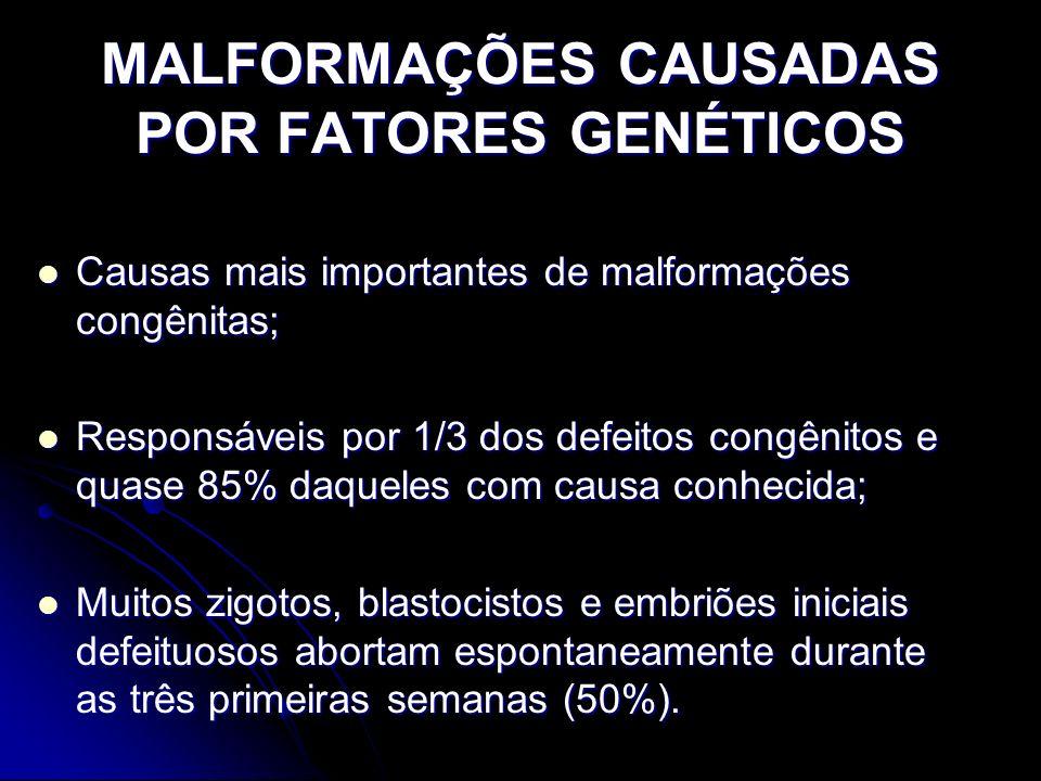 MALFORMAÇÕES CAUSADAS POR FATORES GENÉTICOS Causas mais importantes de malformações congênitas; Causas mais importantes de malformações congênitas; Re