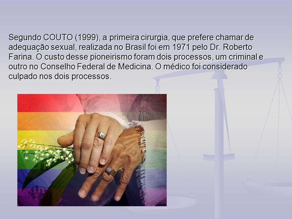Segundo COUTO (1999), a primeira cirurgia, que prefere chamar de adequação sexual, realizada no Brasil foi em 1971 pelo Dr. Roberto Farina. O custo de