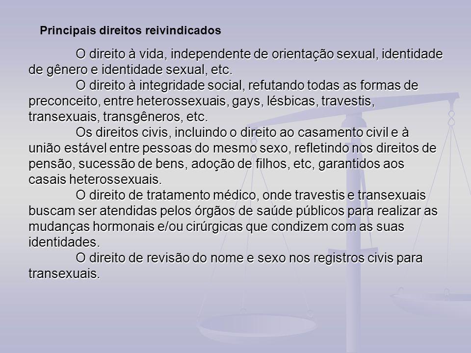 O direito à vida, independente de orientação sexual, identidade de gênero e identidade sexual, etc. O direito à integridade social, refutando todas as