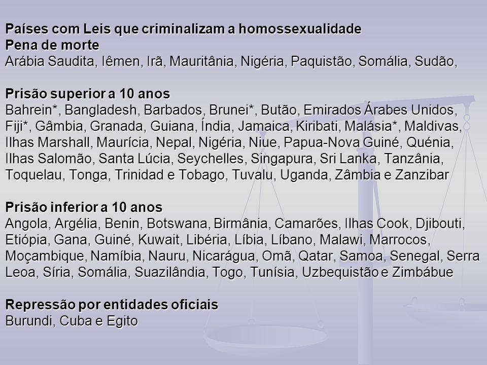 Países com Leis que criminalizam a homossexualidade Pena de morte Arábia Saudita, Iêmen, Irã, Mauritânia, Nigéria, Paquistão, Somália, Sudão, Prisão s