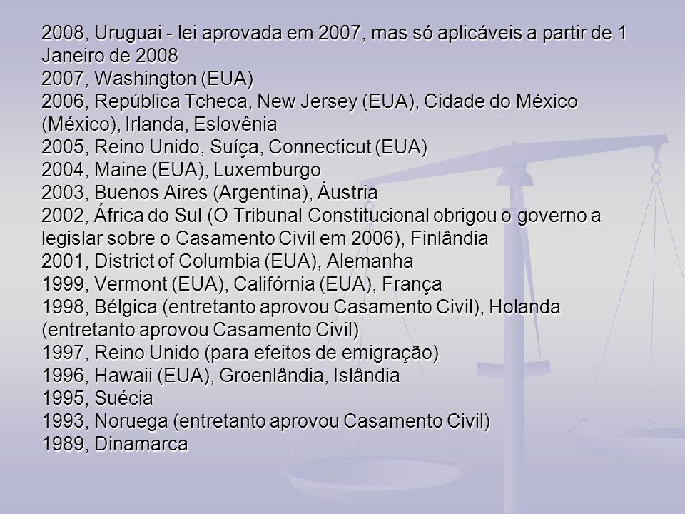 2008, Uruguai - lei aprovada em 2007, mas só aplicáveis a partir de 1 Janeiro de 2008 2007, Washington (EUA) 2006, República Tcheca, New Jersey (EUA),