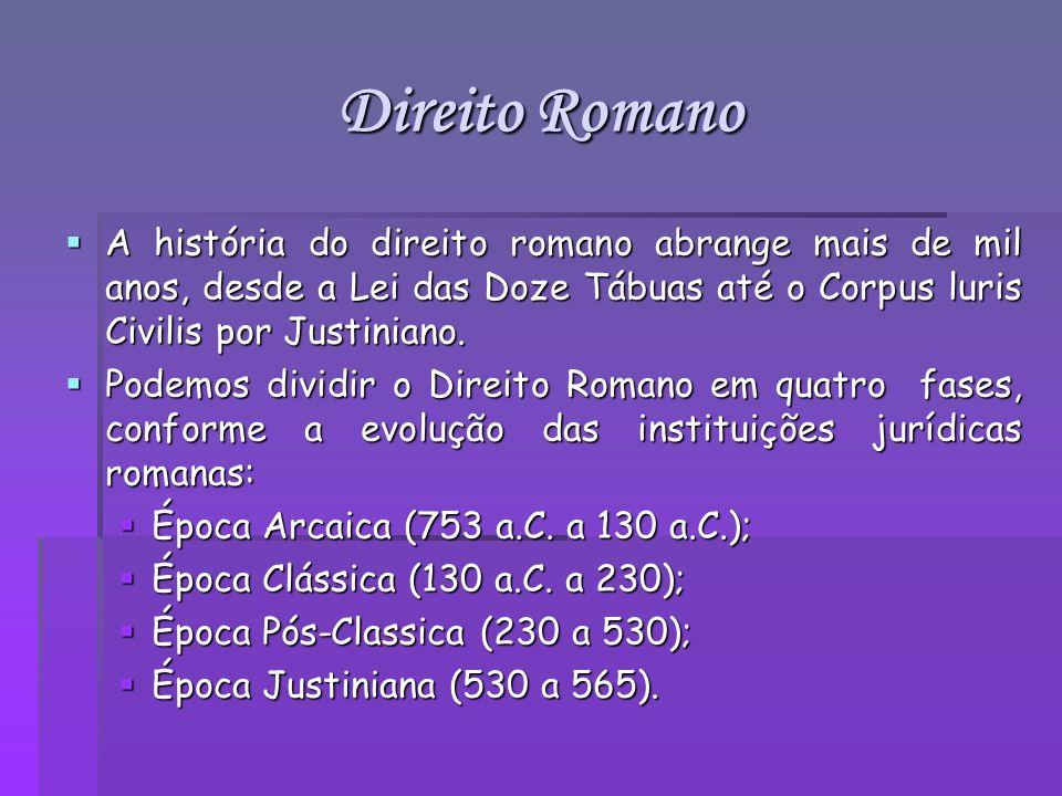 Direito Romano A história do direito romano abrange mais de mil anos, desde a Lei das Doze Tábuas até o Corpus luris Civilis por Justiniano. A históri