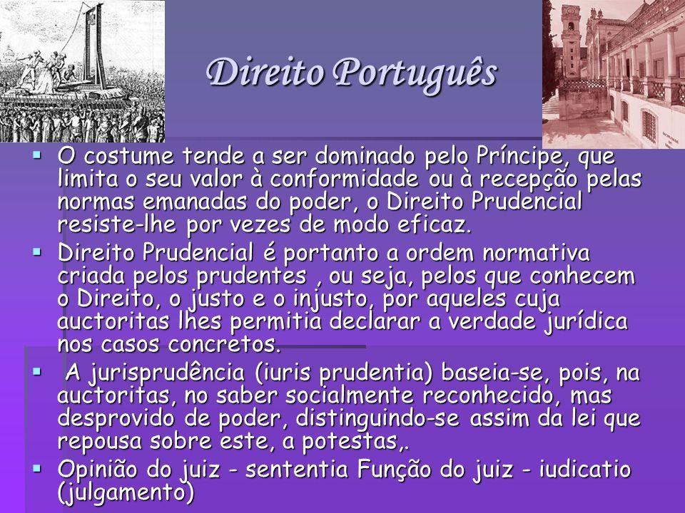 Direito Português O costume tende a ser dominado pelo Príncipe, que limita o seu valor à conformidade ou à recepção pelas normas emanadas do poder, o