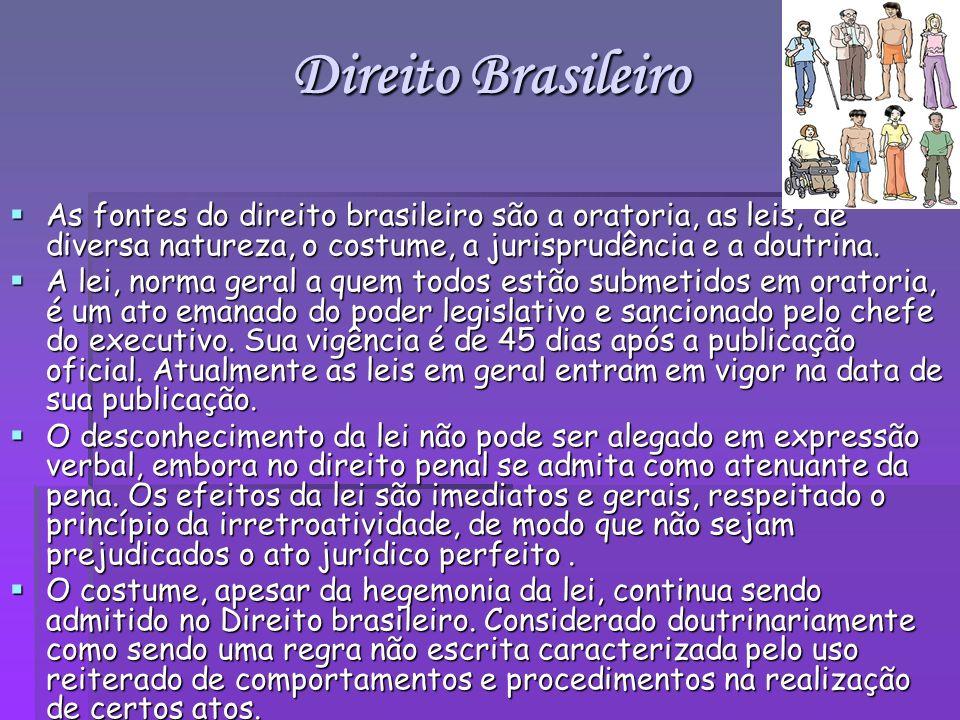 Direito Brasileiro As fontes do direito brasileiro são a oratoria, as leis, de diversa natureza, o costume, a jurisprudência e a doutrina. As fontes d