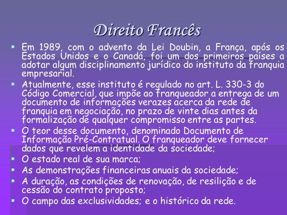 Direito Francês Em 1989, com o advento da Lei Doubin, a França, após os Estados Unidos e o Canadá, foi um dos primeiros países a adotar algum discipli