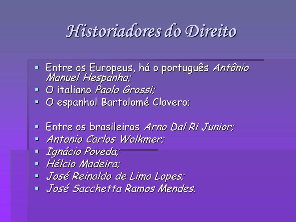 Historiadores do Direito Entre os Europeus, há o português Antônio Manuel Hespanha; Entre os Europeus, há o português Antônio Manuel Hespanha; O itali