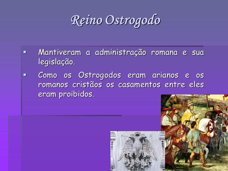 Mantiveram a administração romana e sua legislação. Mantiveram a administração romana e sua legislação. Como os Ostrogodos eram arianos e os romanos c