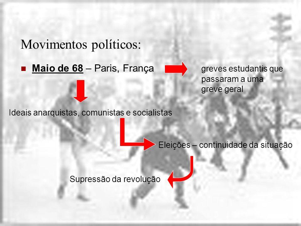 Movimentos políticos: Maio de 68 – Paris, França greves estudantis que passaram a uma greve geral Ideais anarquistas, comunistas e socialistas Eleiçõe