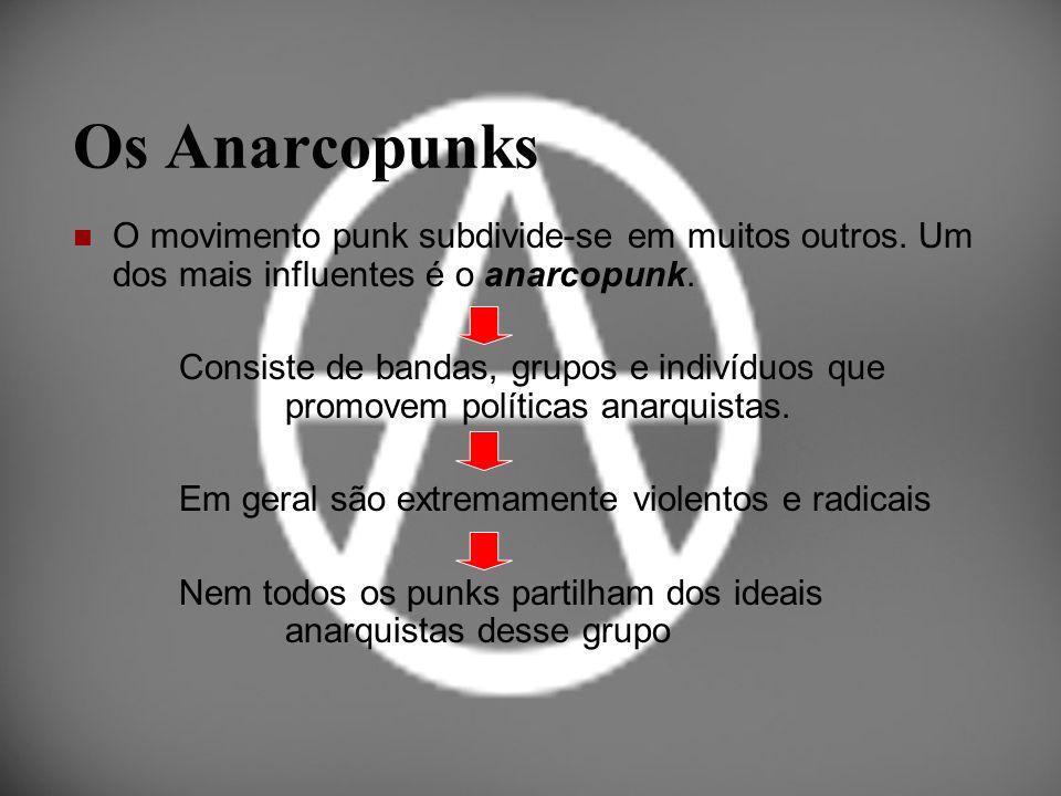 Os Anarcopunks O movimento punk subdivide-se em muitos outros. Um dos mais influentes é o anarcopunk. Consiste de bandas, grupos e indivíduos que prom