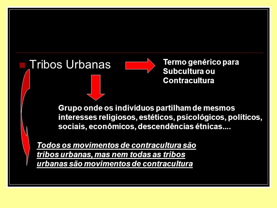 Tribos Urbanas Termo genérico para Subcultura ou Contracultura Grupo onde os indivíduos partilham de mesmos interesses religiosos, estéticos, psicológ