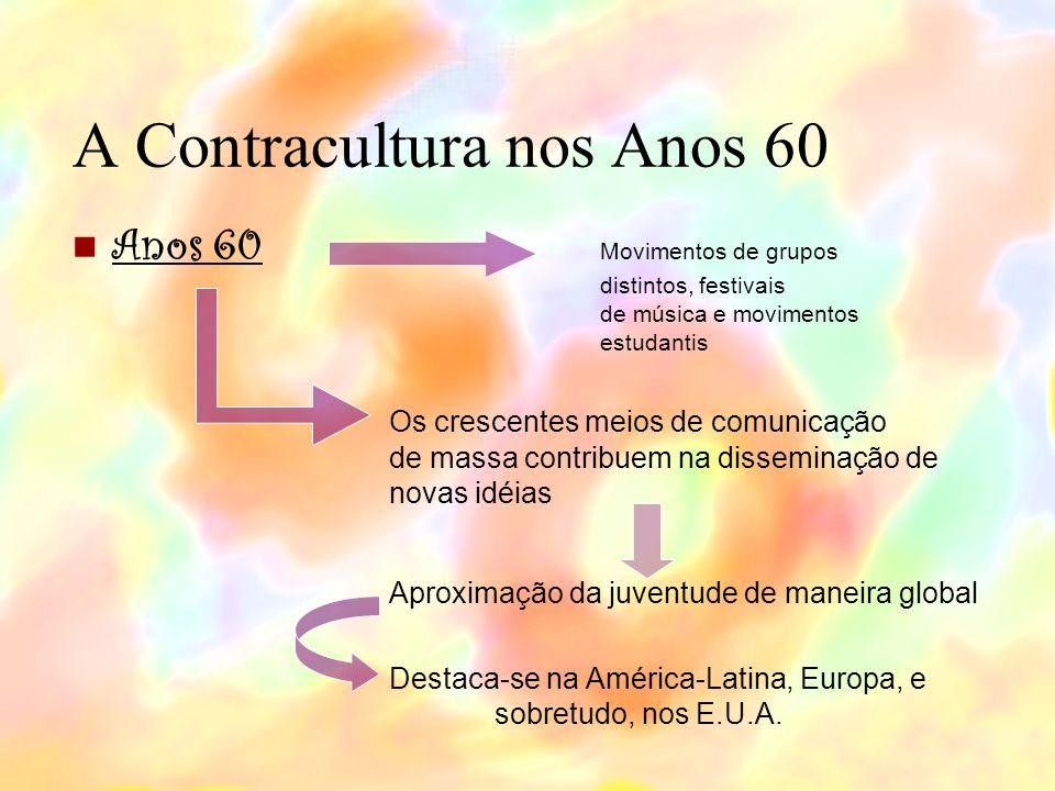 A Contracultura nos Anos 60 Anos 60 Movimentos de grupos distintos, festivais de música e movimentos estudantis Os crescentes meios de comunicação de