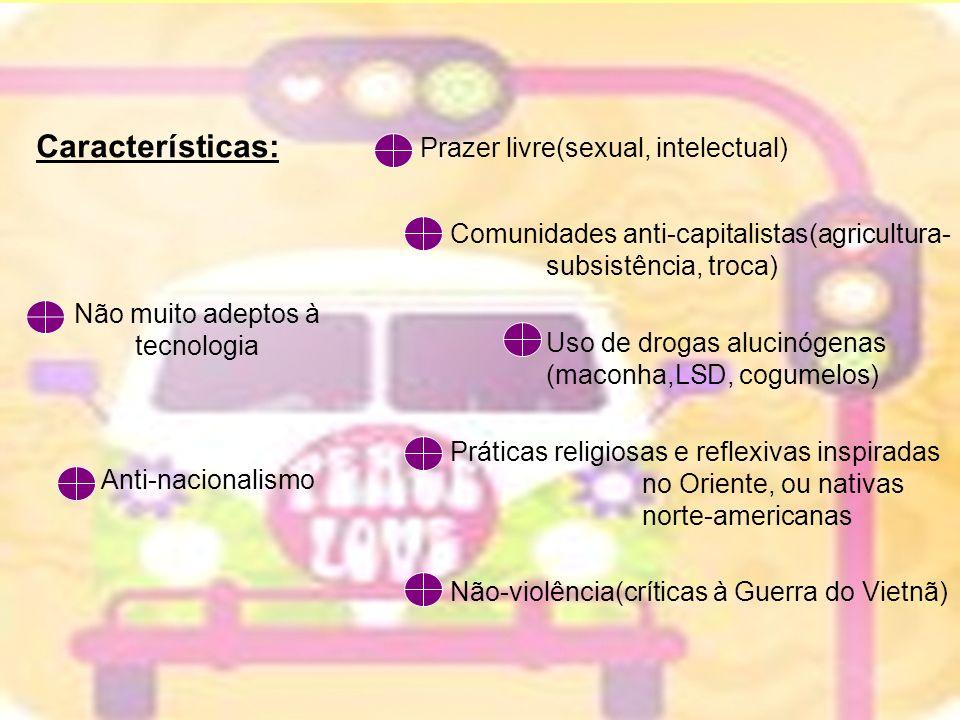 Características: Prazer livre(sexual, intelectual) Comunidades anti-capitalistas(agricultura- subsistência, troca) Uso de drogas alucinógenas (maconha
