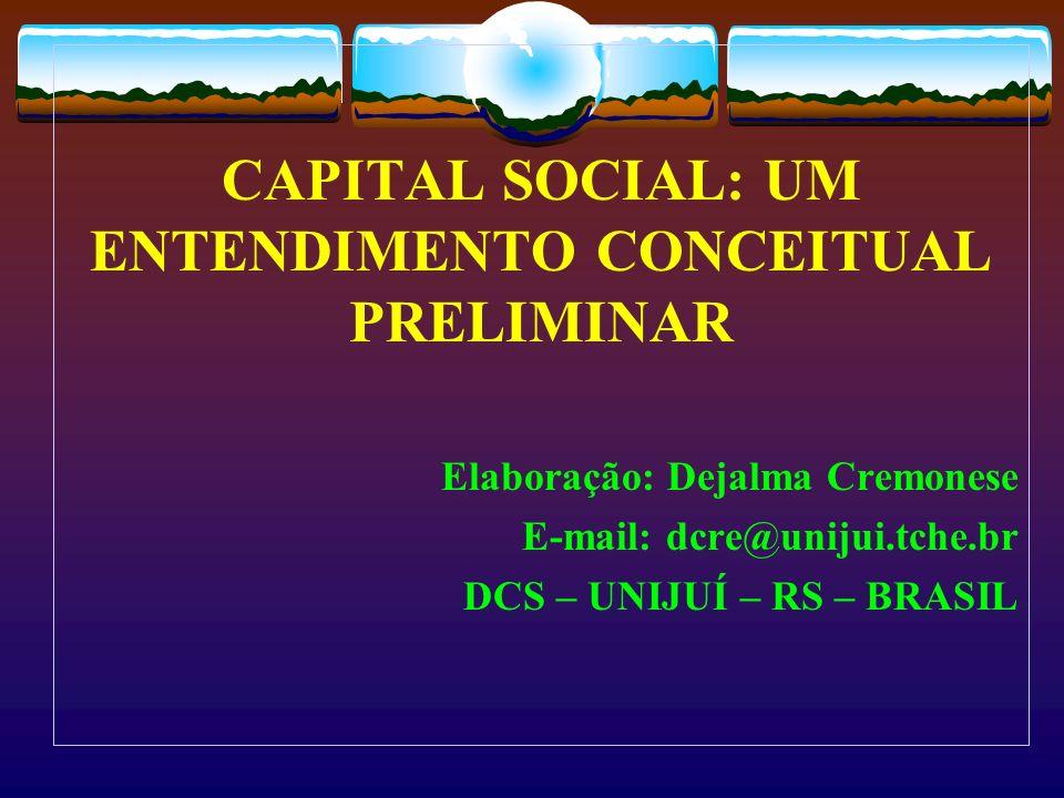 Capital social: origem e evolução O capital social é um conceito novo com um crescimento rápido nas Ciências Sociais nos anos 90.