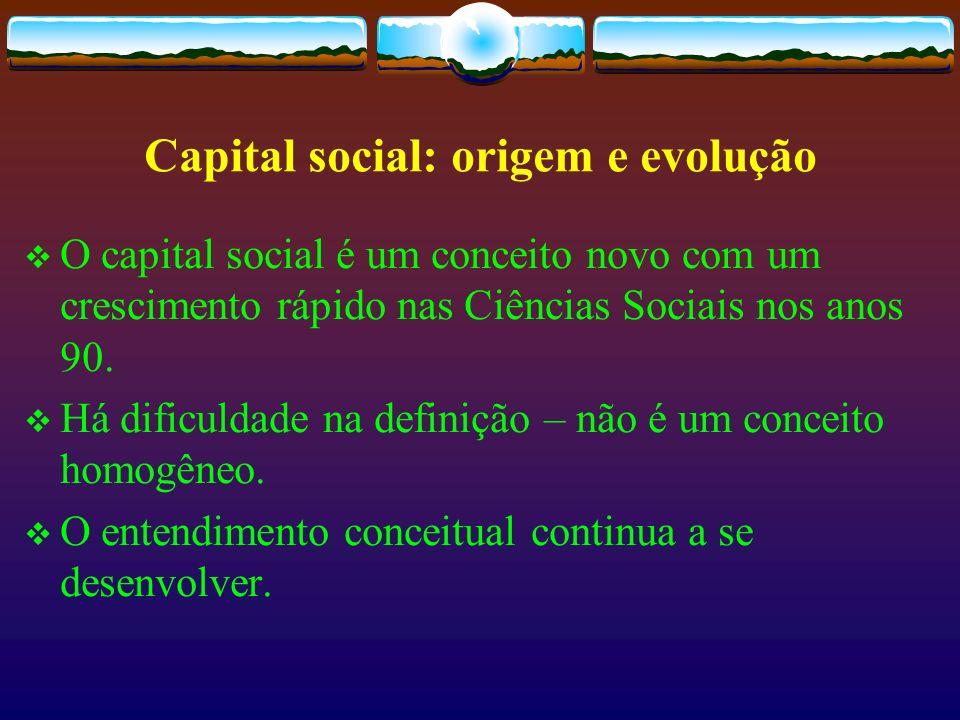 James Coleman Sua primeira contribuição relacionada com o tema data de 1988, através de um artigo intitulado Social Capital in the Creation of Human Capital – considerado por muitos como um dos textos fundadores da literatura sobre este tema.