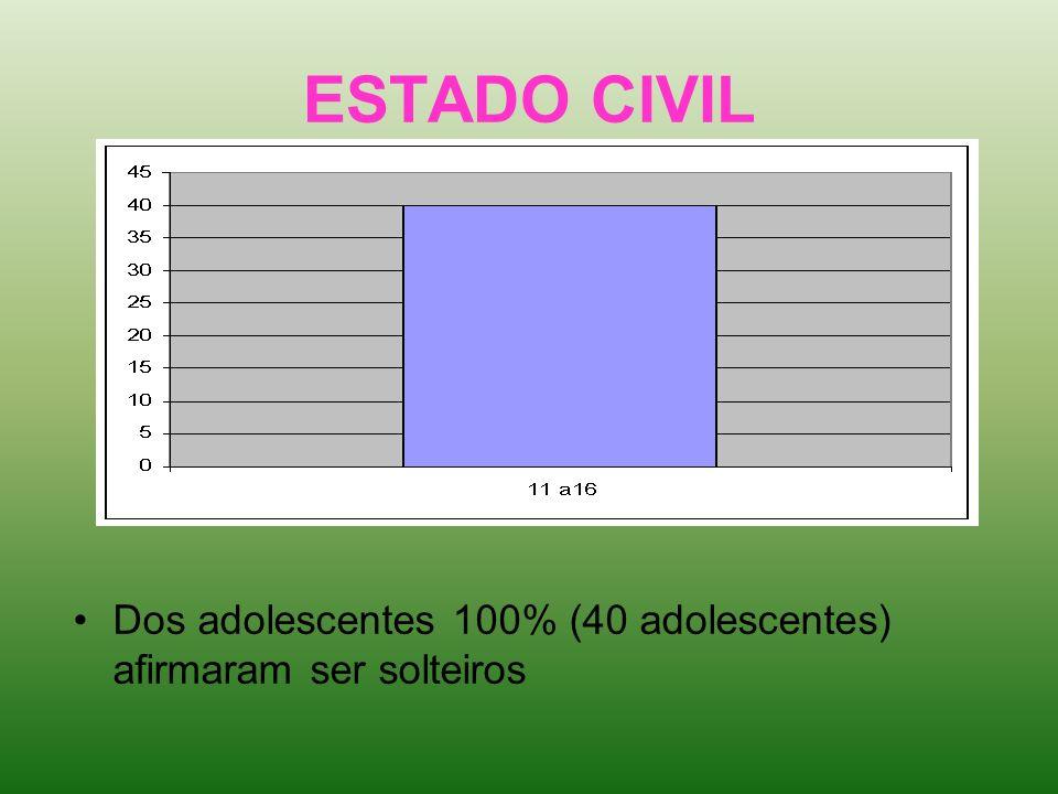 ESTADO CIVIL Dos adolescentes 100% (40 adolescentes) afirmaram ser solteiros