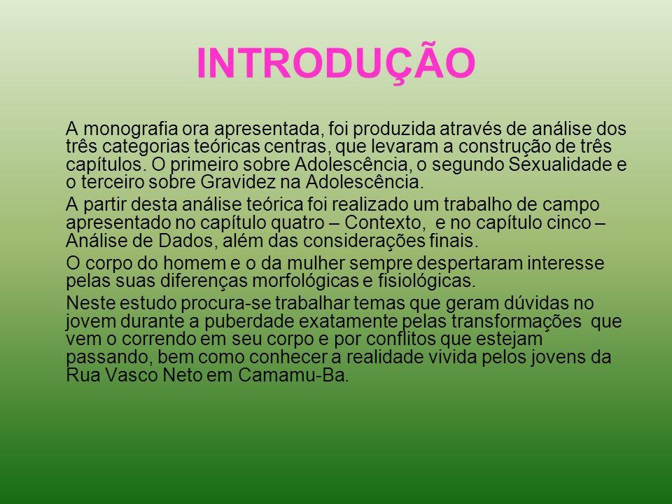 INTRODUÇÃO A monografia ora apresentada, foi produzida através de análise dos três categorias teóricas centras, que levaram a construção de três capít