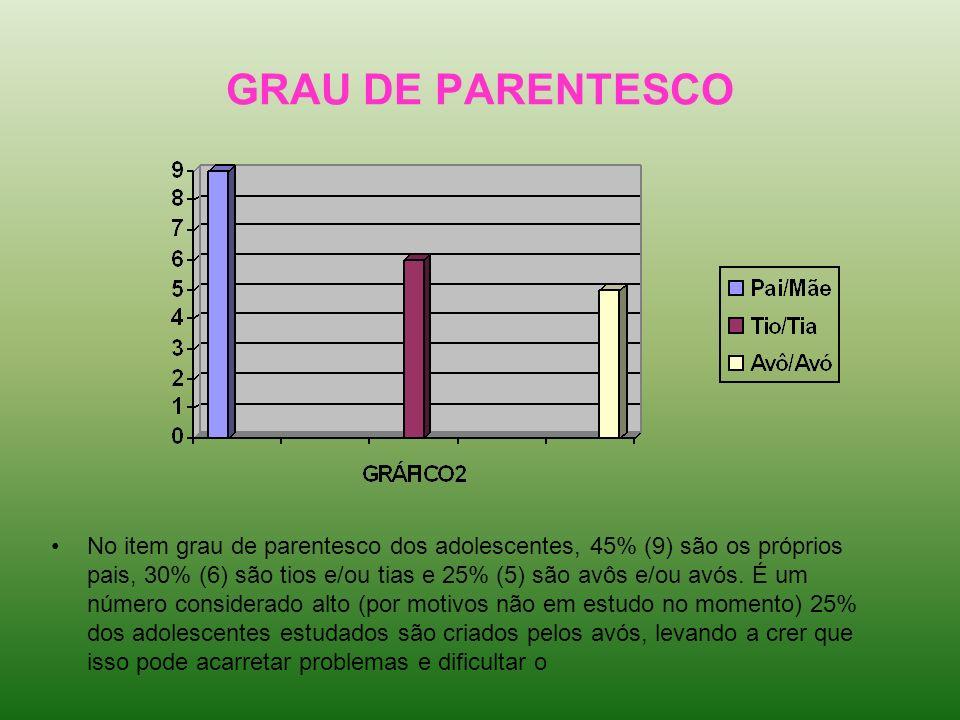 GRAU DE PARENTESCO No item grau de parentesco dos adolescentes, 45% (9) são os próprios pais, 30% (6) são tios e/ou tias e 25% (5) são avôs e/ou avós.