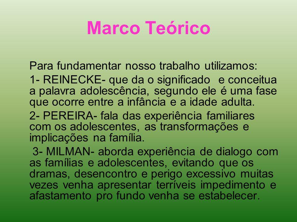 Marco Teórico Para fundamentar nosso trabalho utilizamos: 1- REINECKE- que da o significado e conceitua a palavra adolescência, segundo ele é uma fase