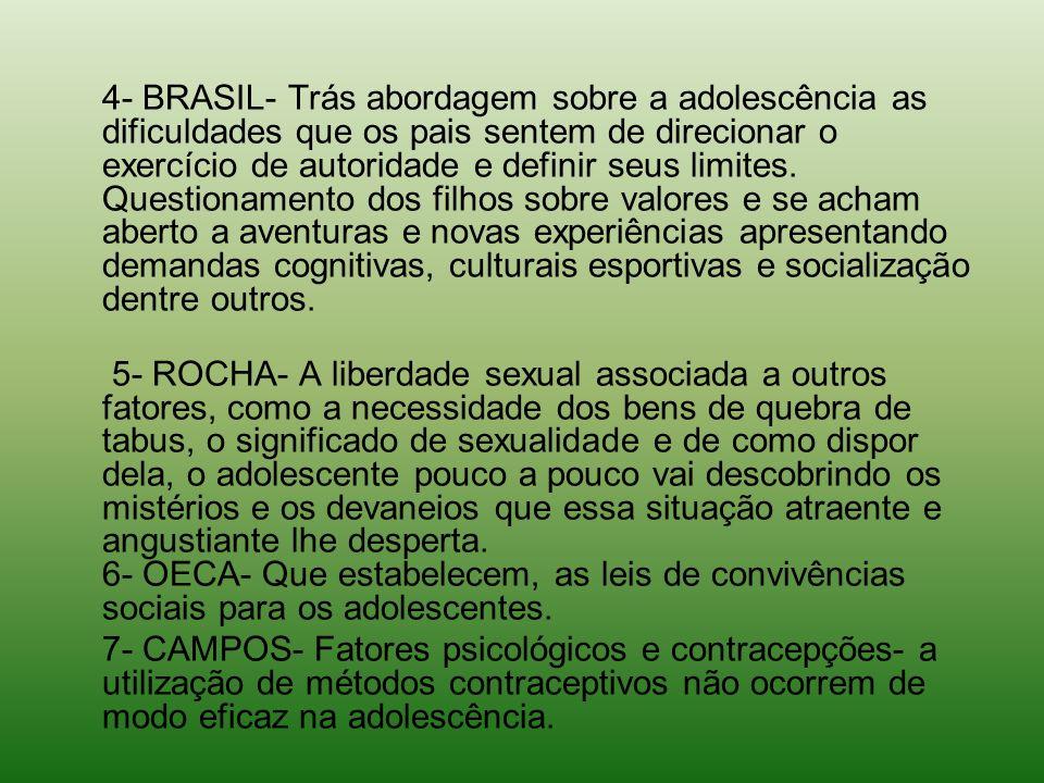 4- BRASIL- Trás abordagem sobre a adolescência as dificuldades que os pais sentem de direcionar o exercício de autoridade e definir seus limites. Ques