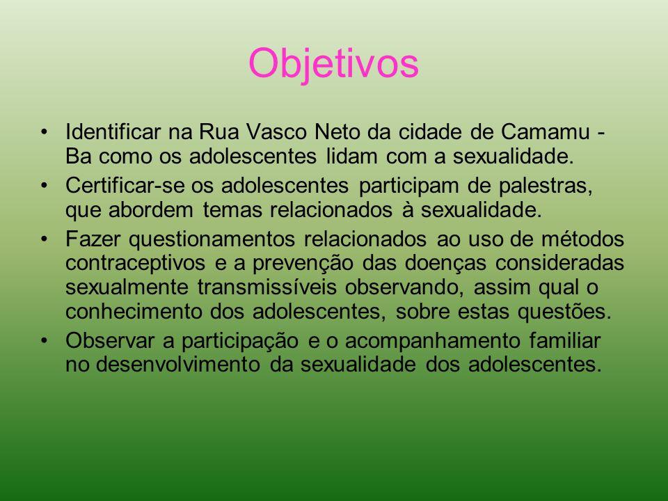 Objetivos Identificar na Rua Vasco Neto da cidade de Camamu - Ba como os adolescentes lidam com a sexualidade. Certificar-se os adolescentes participa