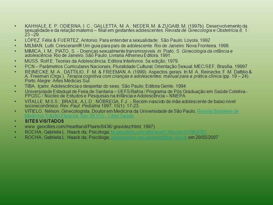 KAHHALE, E. P; ODIERNA, I. C.; GALLETTA, M. A.; NEDER, M. & ZUGAIB, M; (1997b). Desenvolvimento da sexualidade e da relação materno – filial em gestan