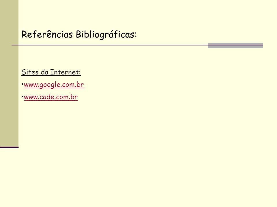 Referências Bibliográficas: Sites da Internet: www.google.com.br www.cade.com.br