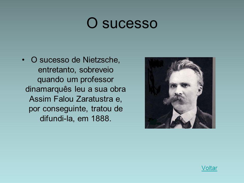 O sucesso O sucesso de Nietzsche, entretanto, sobreveio quando um professor dinamarquês leu a sua obra Assim Falou Zaratustra e, por conseguinte, trat