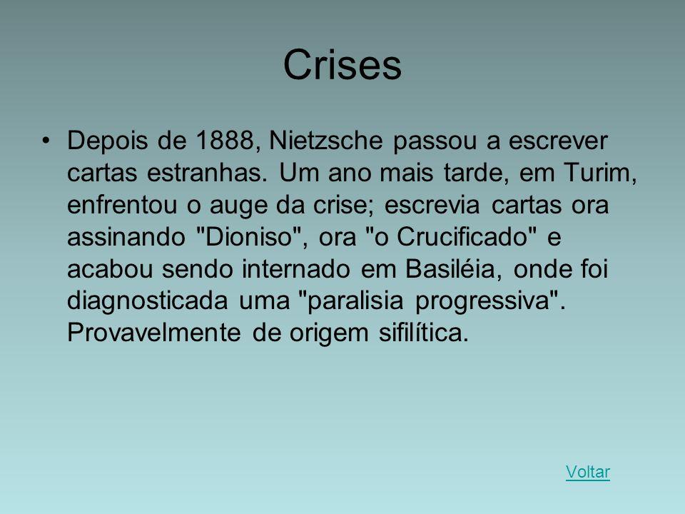 Crises Depois de 1888, Nietzsche passou a escrever cartas estranhas. Um ano mais tarde, em Turim, enfrentou o auge da crise; escrevia cartas ora assin