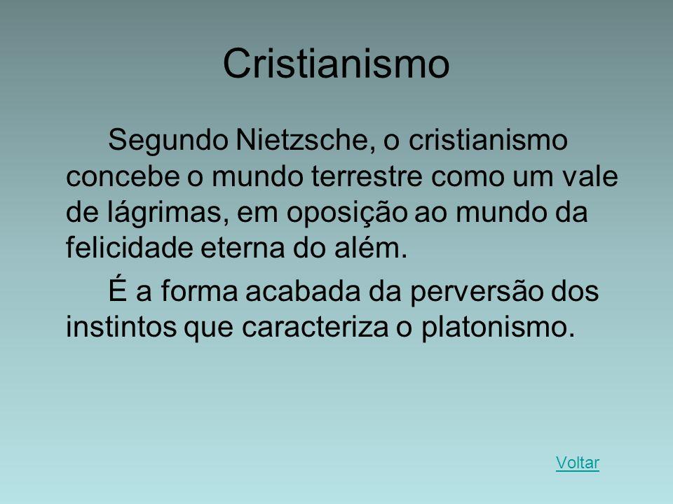 Cristianismo Segundo Nietzsche, o cristianismo concebe o mundo terrestre como um vale de lágrimas, em oposição ao mundo da felicidade eterna do além.