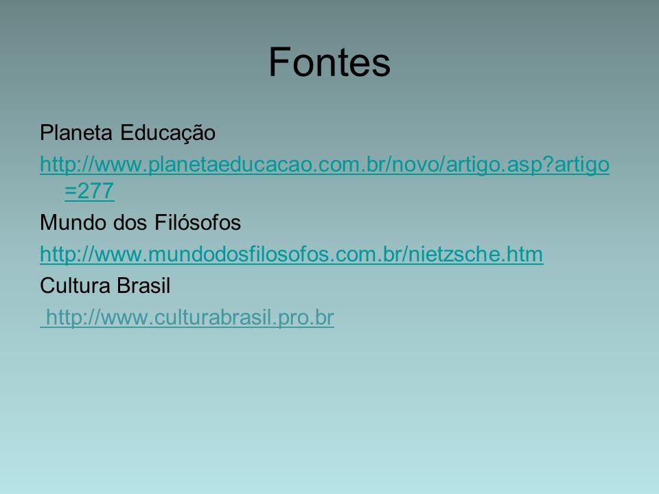 Fontes Planeta Educação http://www.planetaeducacao.com.br/novo/artigo.asp?artigo =277 Mundo dos Filósofos http://www.mundodosfilosofos.com.br/nietzsch
