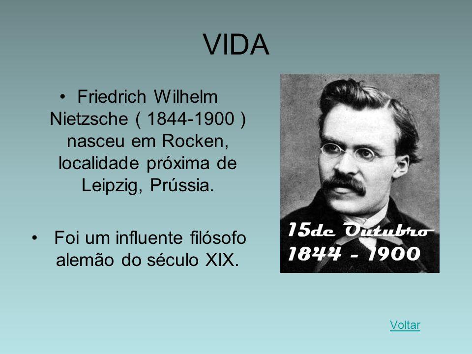 VIDA Friedrich Wilhelm Nietzsche ( 1844-1900 ) nasceu em Rocken, localidade próxima de Leipzig, Prússia. Foi um influente filósofo alemão do século XI