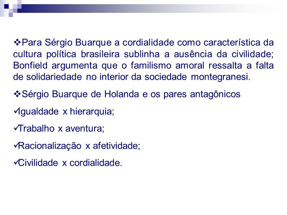 Para Sérgio Buarque a cordialidade como característica da cultura política brasileira sublinha a ausência da civilidade; Bonfield argumenta que o fami