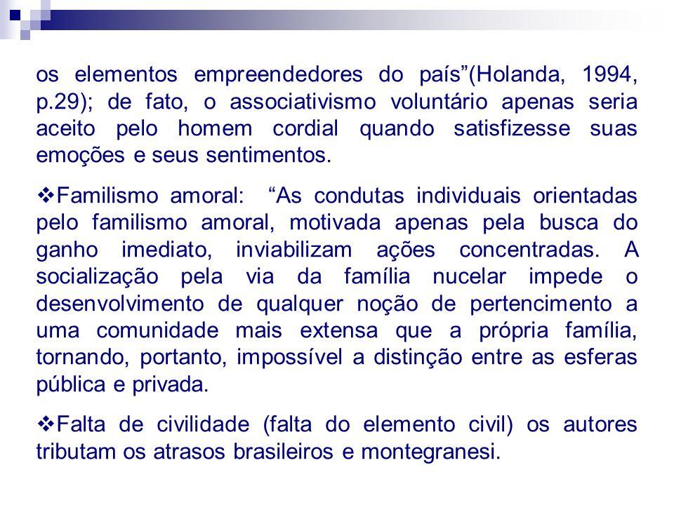 os elementos empreendedores do país(Holanda, 1994, p.29); de fato, o associativismo voluntário apenas seria aceito pelo homem cordial quando satisfize