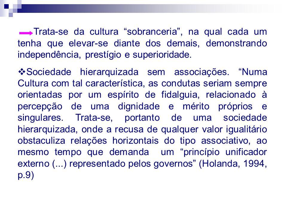 Sociedade Brasileira marcada pela presença de indivíduos que buscavam permanentemente a fidalguia, mostrava-se incapaz de qualquer iniciativa em direção ao autogoverno.
