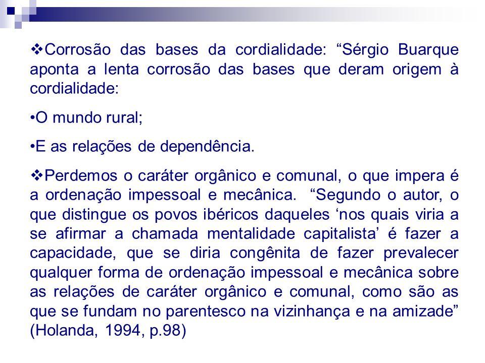 Corrosão das bases da cordialidade: Sérgio Buarque aponta a lenta corrosão das bases que deram origem à cordialidade: O mundo rural; E as relações de